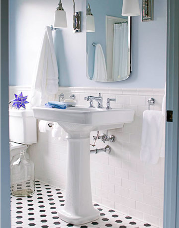 Kids bath - subway tile:wainscotting