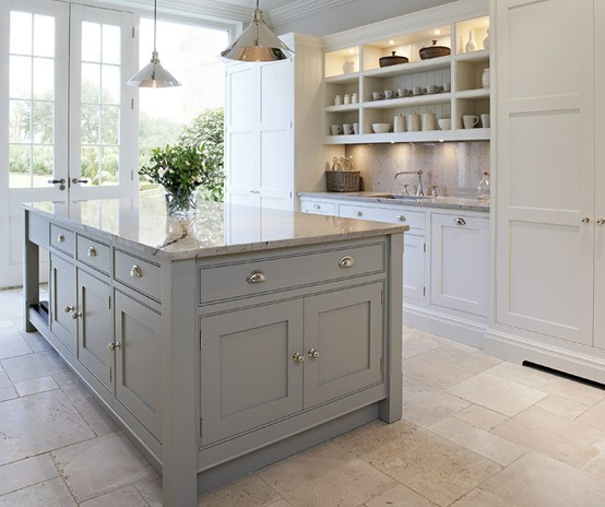 Grey kitchen island - greige