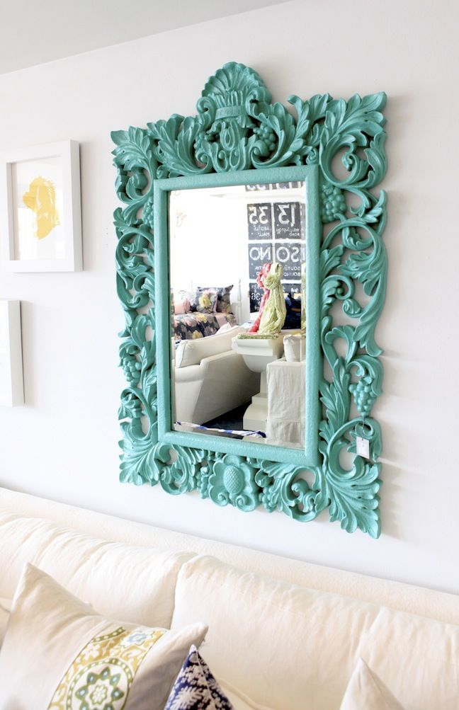 Painted vintage mirror frame