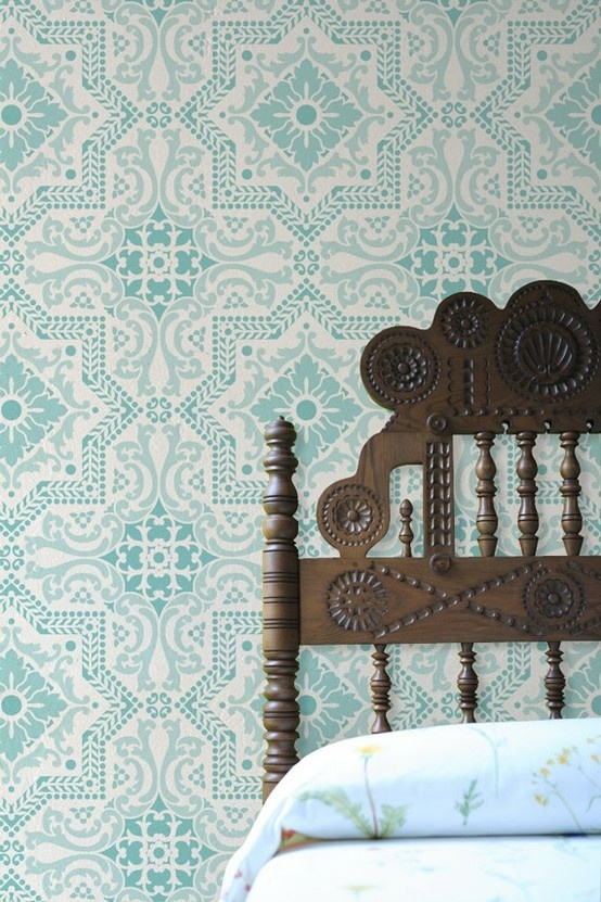 Wallpaper + headboard